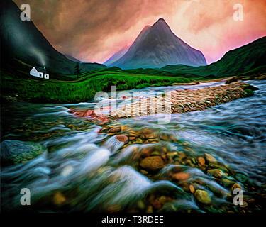 DIGITAL ART: River Coupall in Glen Coe, Scotland - Stock Image