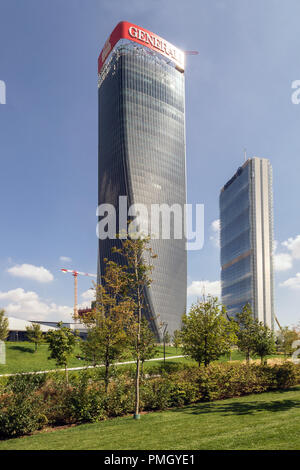 Allianz Tower designed by Arata Isozaki (right) and Generali Tower Tower by Zaha Hadid, skycrapers, high-rise buildings in CityLife district, Milan - Stock Image