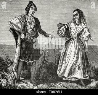 Spain. Murcian peasants. Engraving. Cronica General de España, Historia Ilustrada y Descriptiva de sus Provincias. Murcia, 1870. - Stock Image
