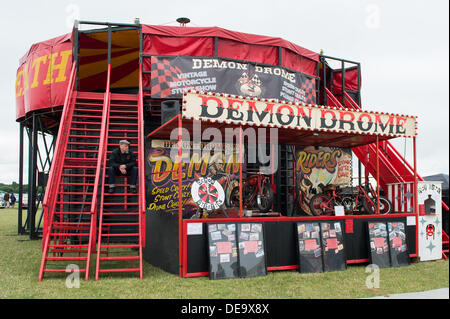 Chichester, West Sussex, UK. 13th Sep, 2013. Goodwood Revival. Goodwood Racing Circuit, West Sussex - Friday 13th September. The Demon Drome, a wall of death show, positioned in the funfair area of the festival. © MeonStock/Alamy Live News - Stock Image