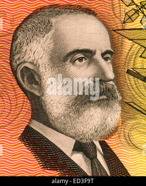 Lawrence Hargrave (1850-1915) on 20 Dollars 1974 banknote from Australia. - Stock Image