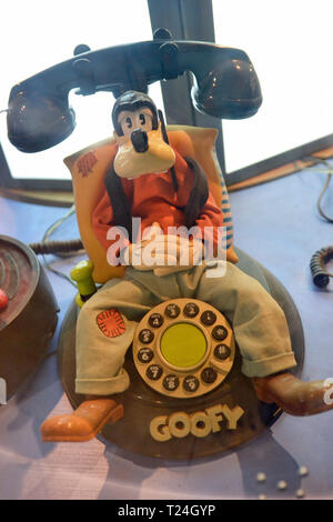 Goofy musical moving phone in the Connected Earth Exhibition at the Milton Keynes Museum, Wolverton and Greenleys, Milton Keynes, Buckinghamshire, UK - Stock Image