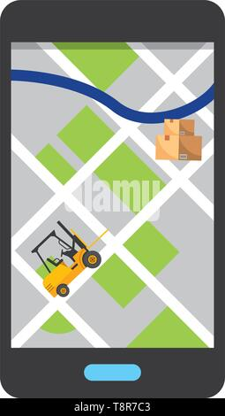 cellphone showing map with lift truck and boxes vector illustration graphic design - Stock Image
