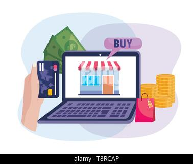 electronic laptop and hand with credit card to shopping online vector illustration - Stock Image