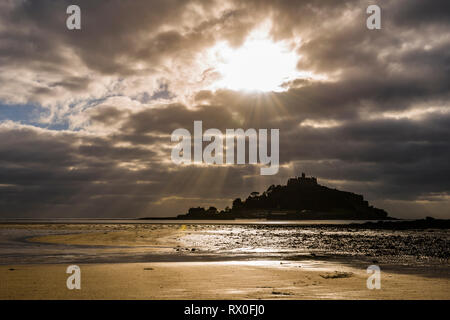 Sunshine on beach at St Michael's Mount, Cornwall, UK - Stock Image