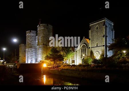 Westgate Towers,Floodlit,River Stour,Holy Cross Church,Canterbury,Kent,England,UK - Stock Image