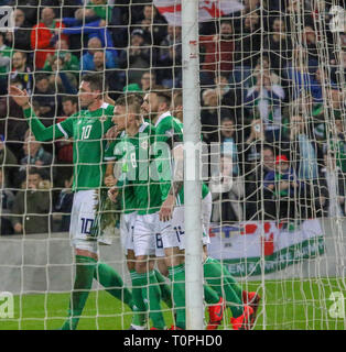 National Football Stadium at Windsor Park, Belfast, Northern Ireland. 21 March 2019. UEFA EURO 2020 Qualifier- Northern Ireland v Estonia. Action from tonight's game. Steven Davis (8) scored Northern Ireland's second goal. Credit: David Hunter/Alamy Live News. - Stock Image