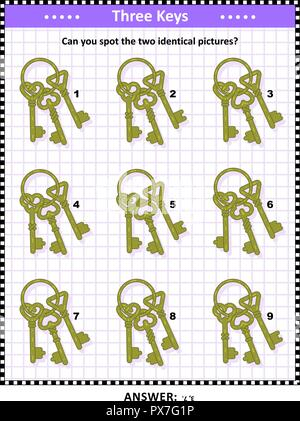 IQ and memory training visual puzzle for kids and adults with bunch of keys images: Can you spot the two identical pictures? Answer included. - Stock Image