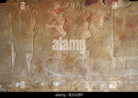 Mayan Bas Relief Carvings, Palenque Archaeological Museum, Chiapas State, Mexico - Stock Image