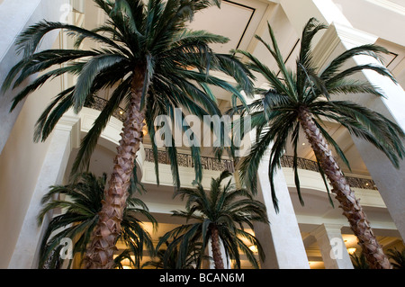 Palm trees inside a hotel lobby . - Stock Image