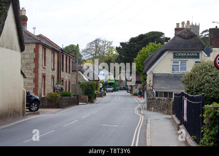 A view of the main street in Godshill, Isle of Wight - Stock Image