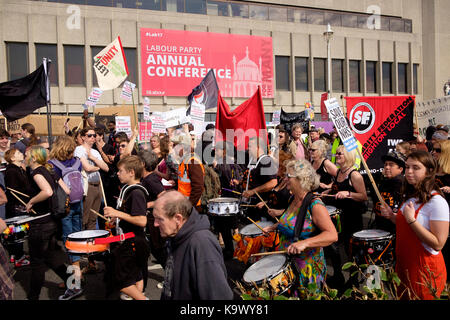 Brighton Centre, Brighton, UK - 24 September 2017: Protestors in a demonstration organised by the Movement for Justice - Stock Image