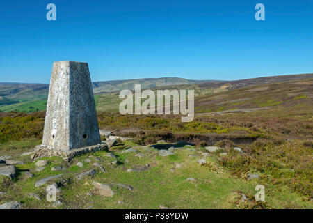 The Bleaklow plateau from the trig point on Chunal Moor, near Glossop, Peak District, Derbyshire, England, UK. - Stock Image
