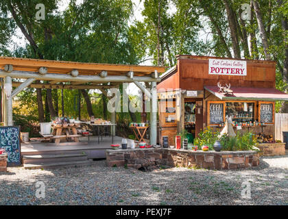 ARROYO SECO, NM, USA-12 JULY 18:  Scott Carlson's Gallery, displaying pottery, in the artists' village near Taos, NM. - Stock Image