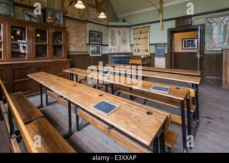 Recreated School Classroom at Beamish Living Open Air Museum - Stock Image
