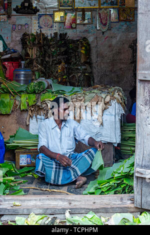Poverty in Chennai, India, where street stalls and street sellers on the side of the road are common. This man sells banana leaves. - Stock Image