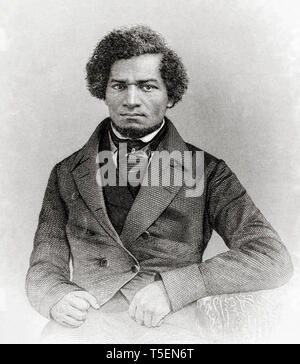 Frederick Douglass (1818-1895) as a younger man, 1855, Engraved by J.C. Buttre from a daguerretotype - Stock Image