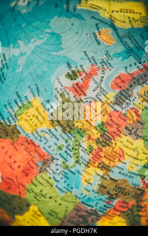 Globe focused on countries in Europe - Stock Image