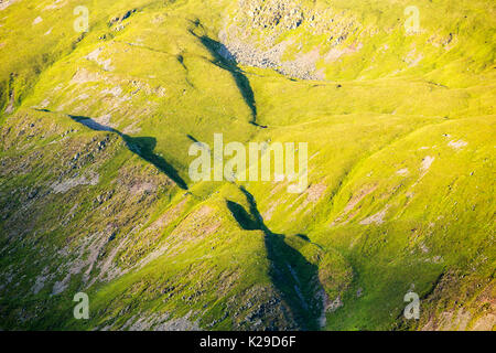 Glacial features on the side of Kirkstone Pass in the Lake District, UK. - Stock Image