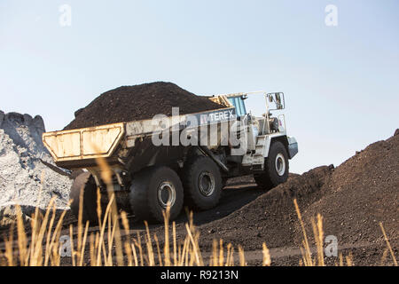 View of truck with coal, Amsterdam, Netherlands - Stock Image