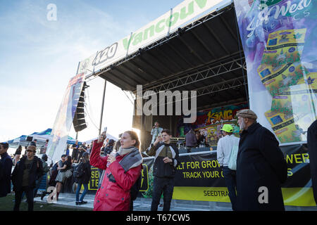VANCOUVER, BC, CANADA - APR 20, 2019: The main stage at the 420 festival with a crowd listening to a marijuana activist. - Stock Image