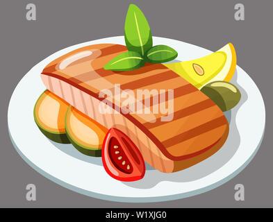 salmon fish plate fillet lemon grilled illustration - Stock Image