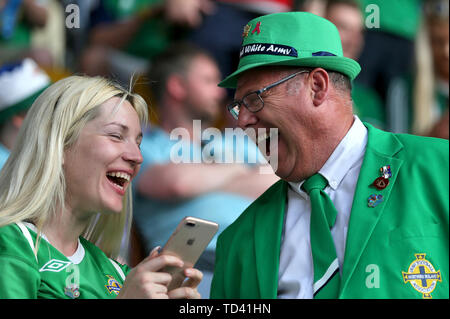 Northern Ireland fans in the stands before the UEFA Euro 2020 Qualifying, Group C match at the Borisov Arena. - Stock Image
