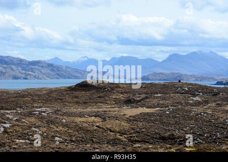 View towards Loch Torridon and the Torridon Mountains, Applecross Peninsula, Wester Ross, Highland Region, Scotland - Stock Image