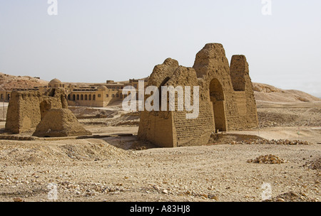 Remains of Buildings on Approach to Temple of Queen Hapshetsut Thebes Egypt - Stock Image
