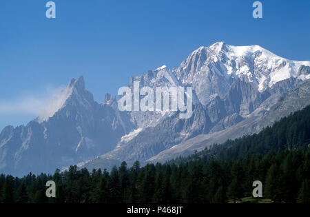 The full length of the Peuteret Ridge on the Italian Side of Mont Blanc, with the Aiguilles Noire and Blanche and the Pillars of Peuteret - Stock Image