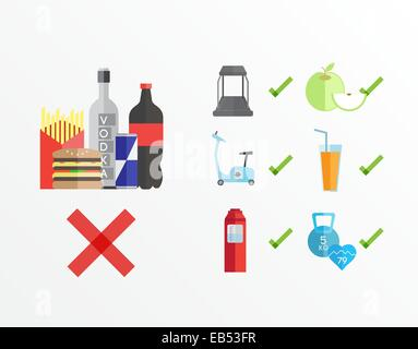 Dieting and fitness guidelines vector - Stock Image