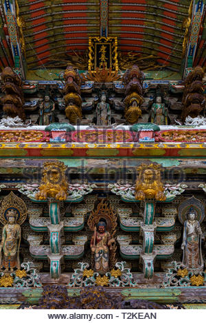 Kosanji Temple Gate Wood Carvings - Kosanji Temple is a temple belonging to Jodo School of Pure Land Buddhism founded in 1936 by Kozo Kosanji as a fam - Stock Image