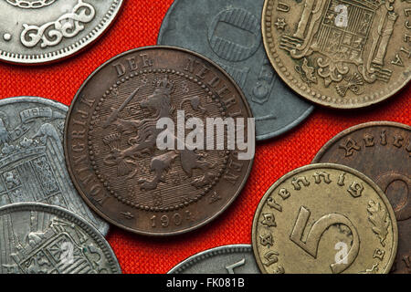 Coins of the Netherlands. Coat of arms of the Netherlands depicted in the Dutch two and a half cent coin (1904). - Stock Image