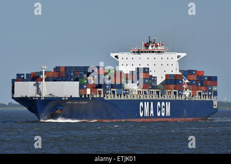 CMA CGM Carmen passing Cuxhaven - Stock Image