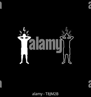 Man holding hand near head with lightning thunderbolt Concept trouble problem people silhouette icon outline set white color vector illustration flat - Stock Image