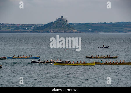 Newlyn, Cornwall, UK. 18th May 2019. UK Weather. Warm and sunny on the sea at Mounts Bay on saturday lunchtime, for the gig racers. Credit Simon Maycock / Alamy Live News. - Stock Image