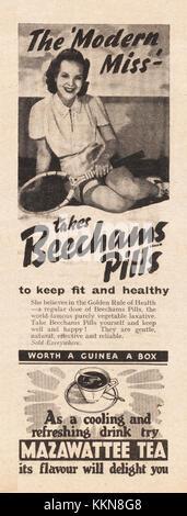 1939 UK Magazine Beechams Pills Advert - Stock Image