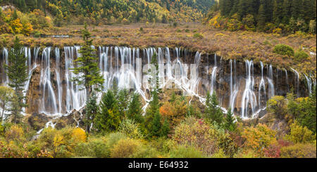 Nuorilang Waterfall. Jiuzhaigou National Park, Sichuan Province. China - Stock Image