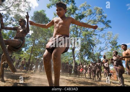 Australia, Queensland, Laura. Indigenous dancers at the Laura Aboriginal Dance Festival. - Stock Image