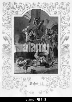 Act V, Scene V Pomfret Castle: Richard kills one of his servants with an axe, before he himself is struck down by Pierce of Exton - Stock Image
