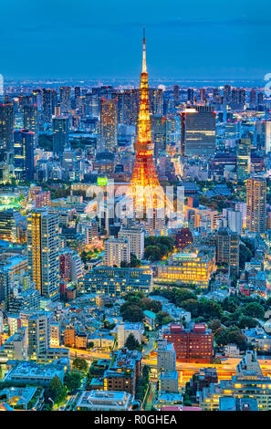 Tokyo skyline with Tokyo Tower at night - Stock Image