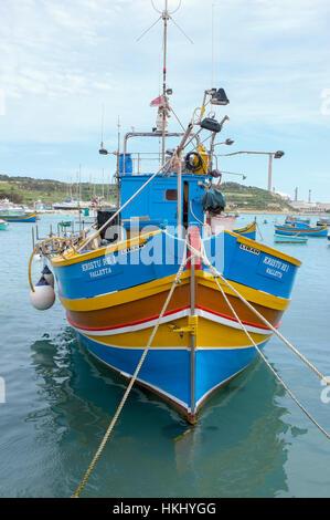 Maltsese Fishing Boat in Marsaxlokk, Malta -1 - Stock Image