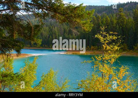 A Framed View of Kentucky Lake, British Columbia, Canada. - Stock Image