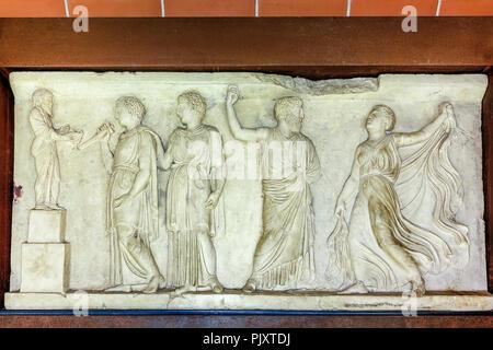 Dionysiac Marble Reliefs, Herculaneum Campania, Italy - Stock Image