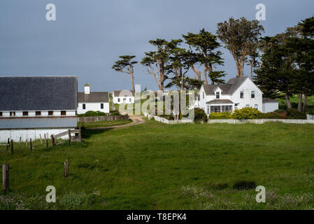 Overview of the historic Pierce Point Ranch in Point Reyes National Seashore, on a blue cloudless ky. This ranch on Tomales Point (aka Pierce Point) i - Stock Image