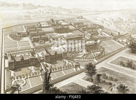 Asile d'Alienes (lunatic asylum) of Sainte-Anne, Paris       Date: 1877 - Stock Image