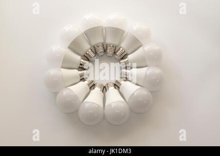 Circle of electric bulb - Stock Image