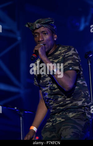 Montreal, Canada. 7th July 2018. Megative perform on stage at the Montreal International Jazz Festival. Credit: richard prudhomme/Alamy Live News - Stock Image