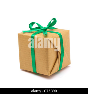 Single brown paper covered Gift box isolated on white background. - Stock Image