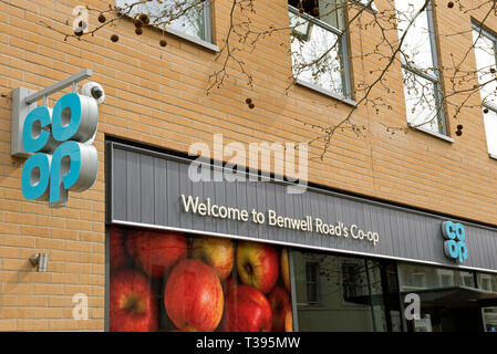 Co-op or Co-operative store, Benwell Road branch, sign above shop Holloway, London Borough of Islington, England Britain UK - Stock Image